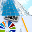 Stock Photo: Office buildings and documents, business a collage