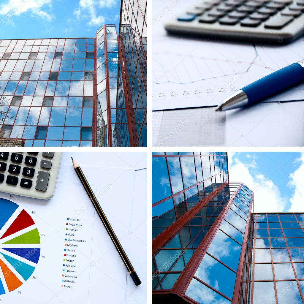 Office buildings, documents with charts, business a collage  Stock Photo #5911343