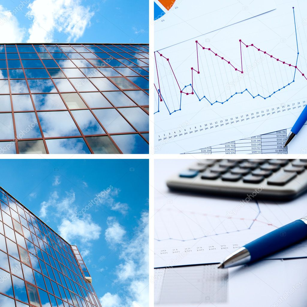 Office buildings, documents with charts, business a collage — Stock Photo #5911674