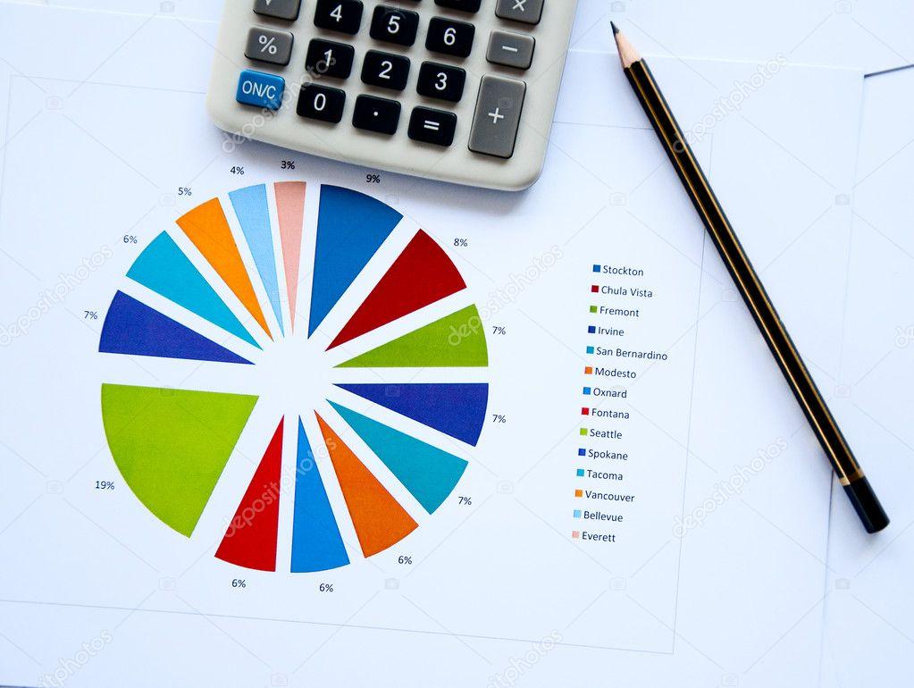 Pencil The Calculator Documents Stock Photo