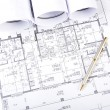Construction plans, ball pen, business collage - Foto Stock