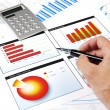 Hand with the handle specifies charts of growth — Stock Photo #6184457