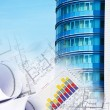 Stock Photo: Building and blueprints, business collage