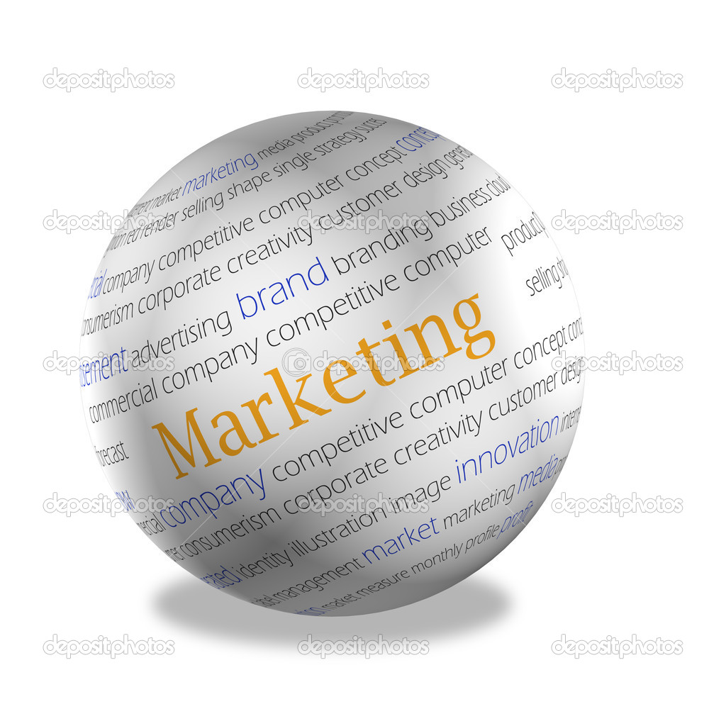 3d area, on a surface words on subject matter of marketing are represented — Stock Photo #6411375