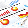 Charts and pen, success in busines — Stock Photo