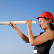 Business woman фтв construction plans — Stock fotografie