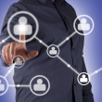 Man hand pressing Social Network icon — Stock Photo