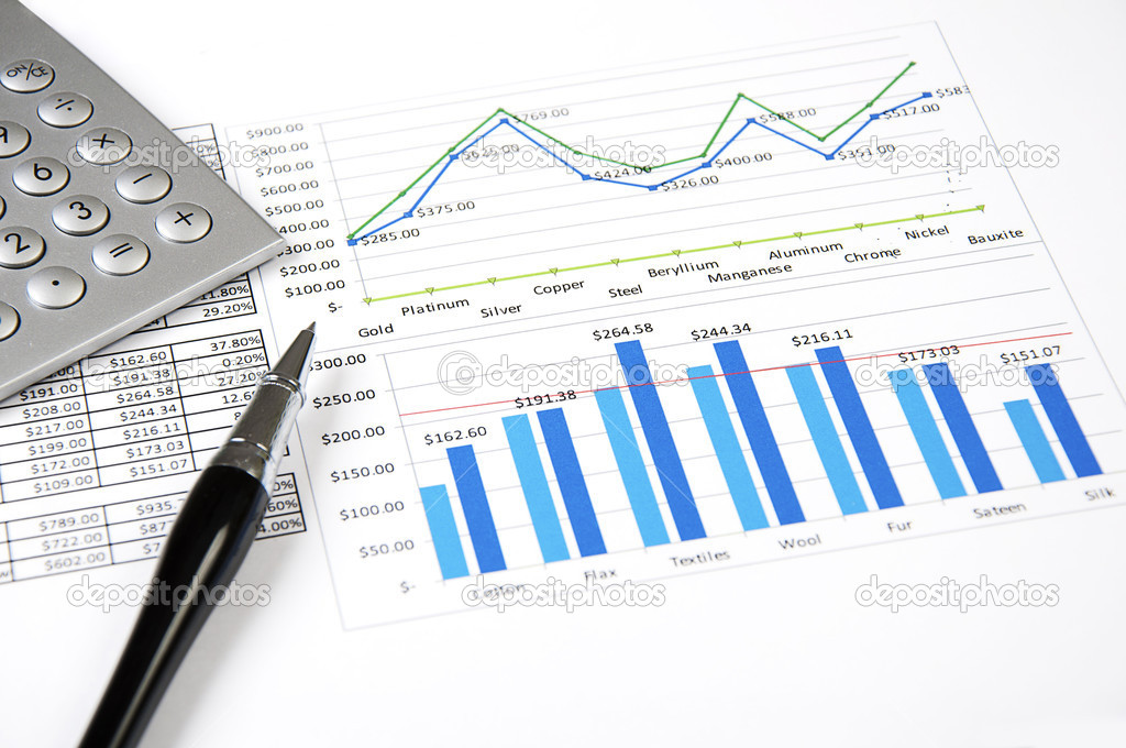 Calculator, charts, pen, workplace businessman, business collage — Stock Photo #6567331