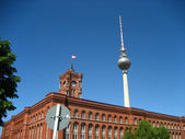 Berlin tv tower and old town hall — Stock Photo
