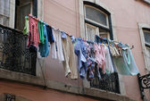 Drying clothes in southern europe — Stock Photo