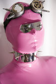 Cyber Fetish Portrait with welding goggles and metall spiked collar — Stock Photo
