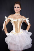 Pretty Woman in White Corset — Stock Photo