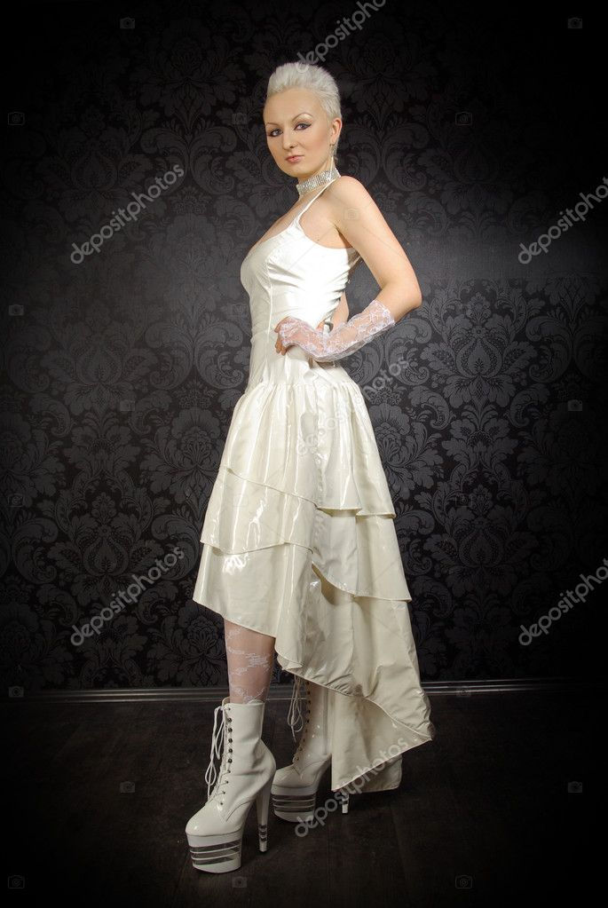 Alternative fetish pvc bride wearing wedding dress stock for Alternative to wearing a wedding dress