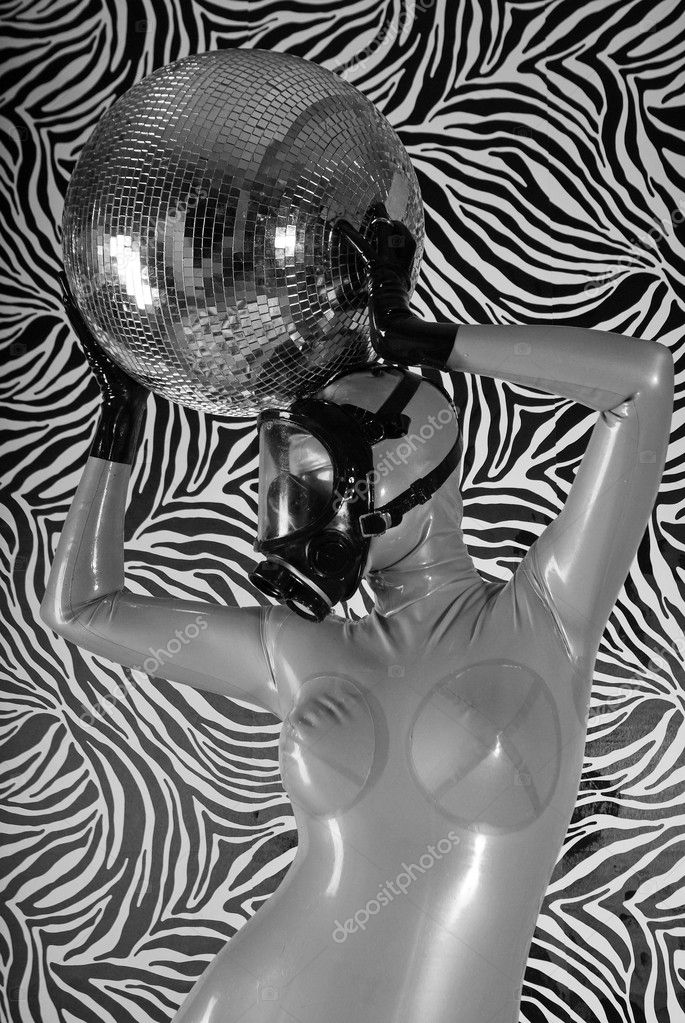 Fetish Girl and Disco Ball — Stock Photo #5871777