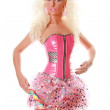 Perfect Barbie Woman in Pink Clothes with Big Candy — Stock Photo
