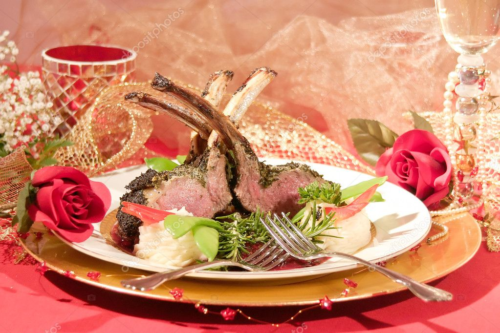 Rack of Lamb at elegant restaurant  Stock Photo #5940434