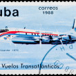 Postal stamp. Transatlantic flight, 1975 — Stock Photo