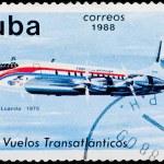 Postal stamp. Transatlantic flight, 1975 — Stock Photo