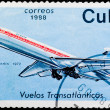 Postal stamp. Transatlantic flight, 1972 — Stock Photo