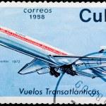 Postal stamp. Transatlantic flight, 1972 — Stock Photo