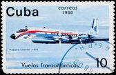 Timbro postale. volo transatlantico, 1975 — Foto Stock