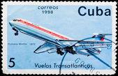 Timbro postale. volo transatlantico, 1972 — Foto Stock