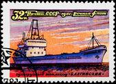 郵便切手。ドライ貨物自動車船「バルト」1981 — ストック写真