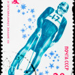 Postal stamp. Toboggan, 1980 — Stock Photo
