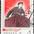 Stock Photo: Postal stamp. Lenin on tribune, 1968.