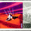 Postal stamp. Communication sattelite, 1972. - Stock Photo