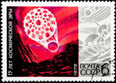 Postal stamp. Sputnik, 1972 — Stock Photo