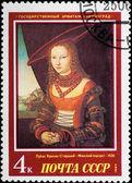 Sello postal. retrato mujer, 1526. — Foto de Stock