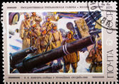 Postal stamp. Fighters at trophy tools, 1942. — Stock Photo