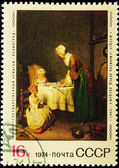 Postal stamp. Prayer before a dinner, 1744. — Stock Photo