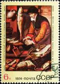 Postal stamp. The saleswoman of fish, 1974. — Stock Photo