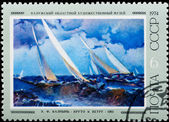 Postal stamp. Abruptly to a wind, 1962. — Stock Photo