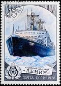 """Postal stamp. Atomic ice breaker """"Lenin"""", 1978. — Stock Photo"""