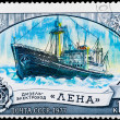 "图库照片: Postal stamp. Diesel-electric ship ""Lena"", 1977."