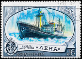 "Postal stamp. Diesel-electric ship ""Lena"", 1977. — Stock Photo"