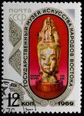 Postal stamp. Stone head, 1969 — Stock Photo