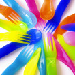 plastic cutlery — Stock Photo