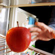Apple on Fridge — Stock Photo