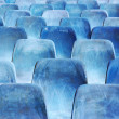 Rows of blue chairs — Stock Photo