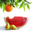 Fruits on white - Stock Photo