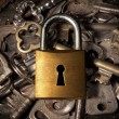Padlock over keys — Stock Photo