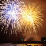 Fireworks over sea — Stock Photo