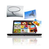Photos on Laptop — Stock Photo