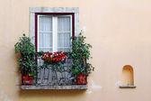 鲜花盛放的阳台 — 图库照片