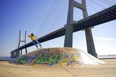 Skate Under Bridge — Stock Photo