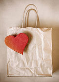 Saco de papel de coração — Foto Stock